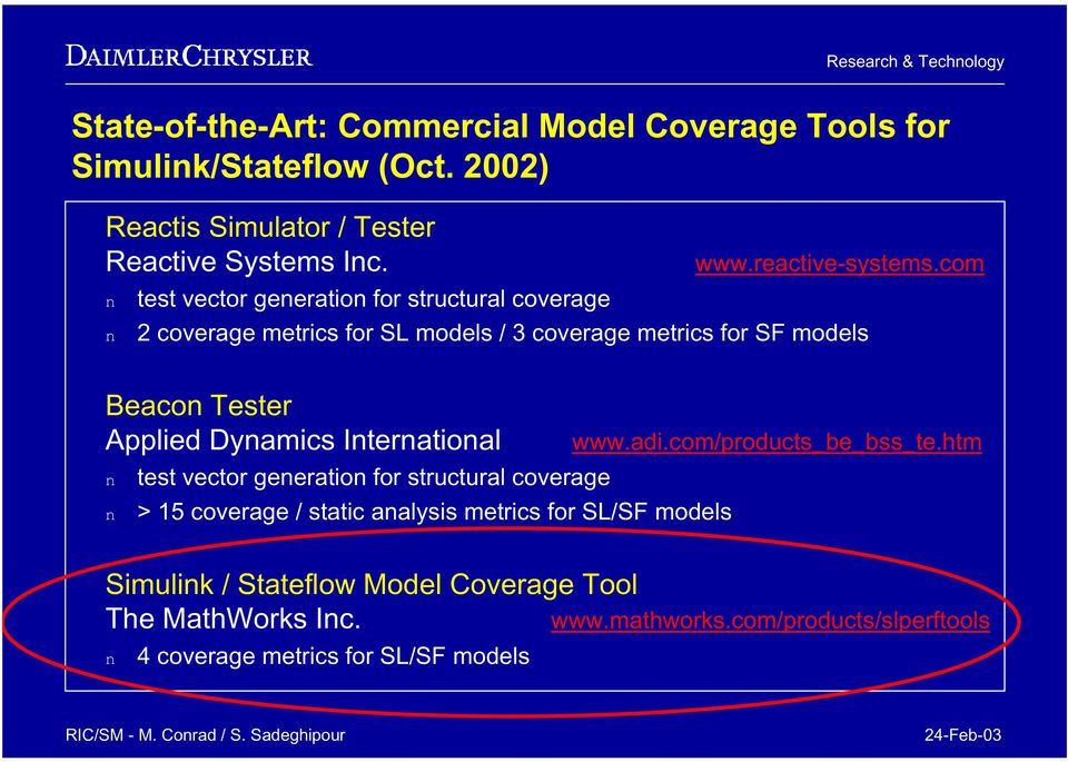 com test vector geeratio for structural coverage 2 coverage metrics for SL models / 3 coverage metrics for SF models Beaco Tester Applied Dyamics Iteratioal