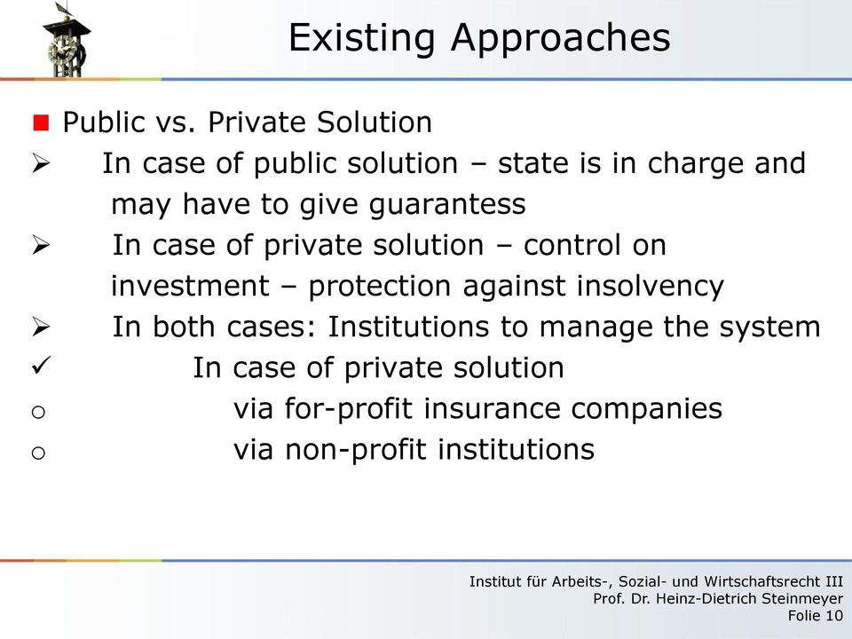 guarantess In case of private solution control on investment protection against