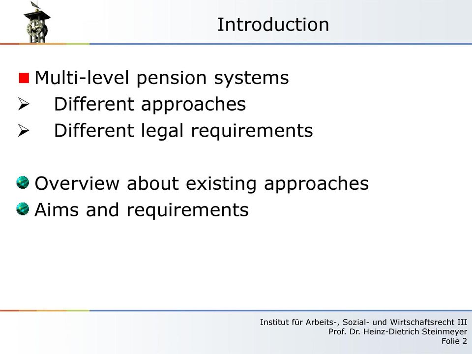 legal requirements Overview about