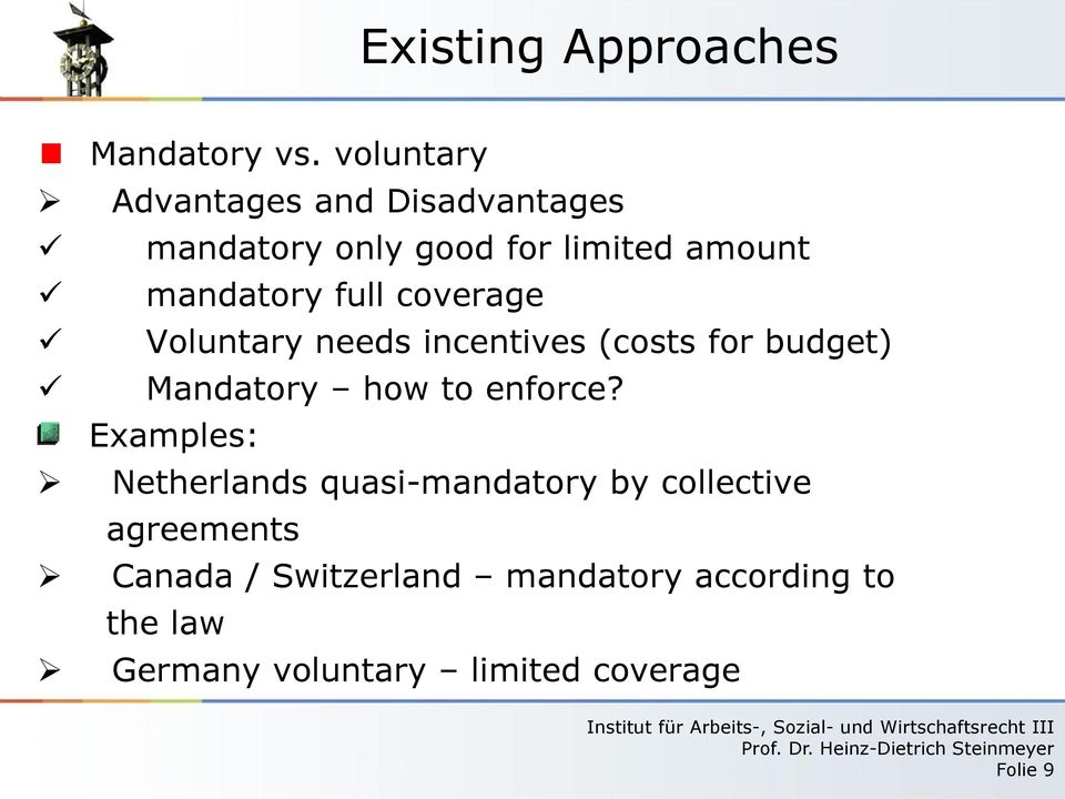 mandatory full coverage Voluntary needs incentives (costs for budget) Mandatory how to