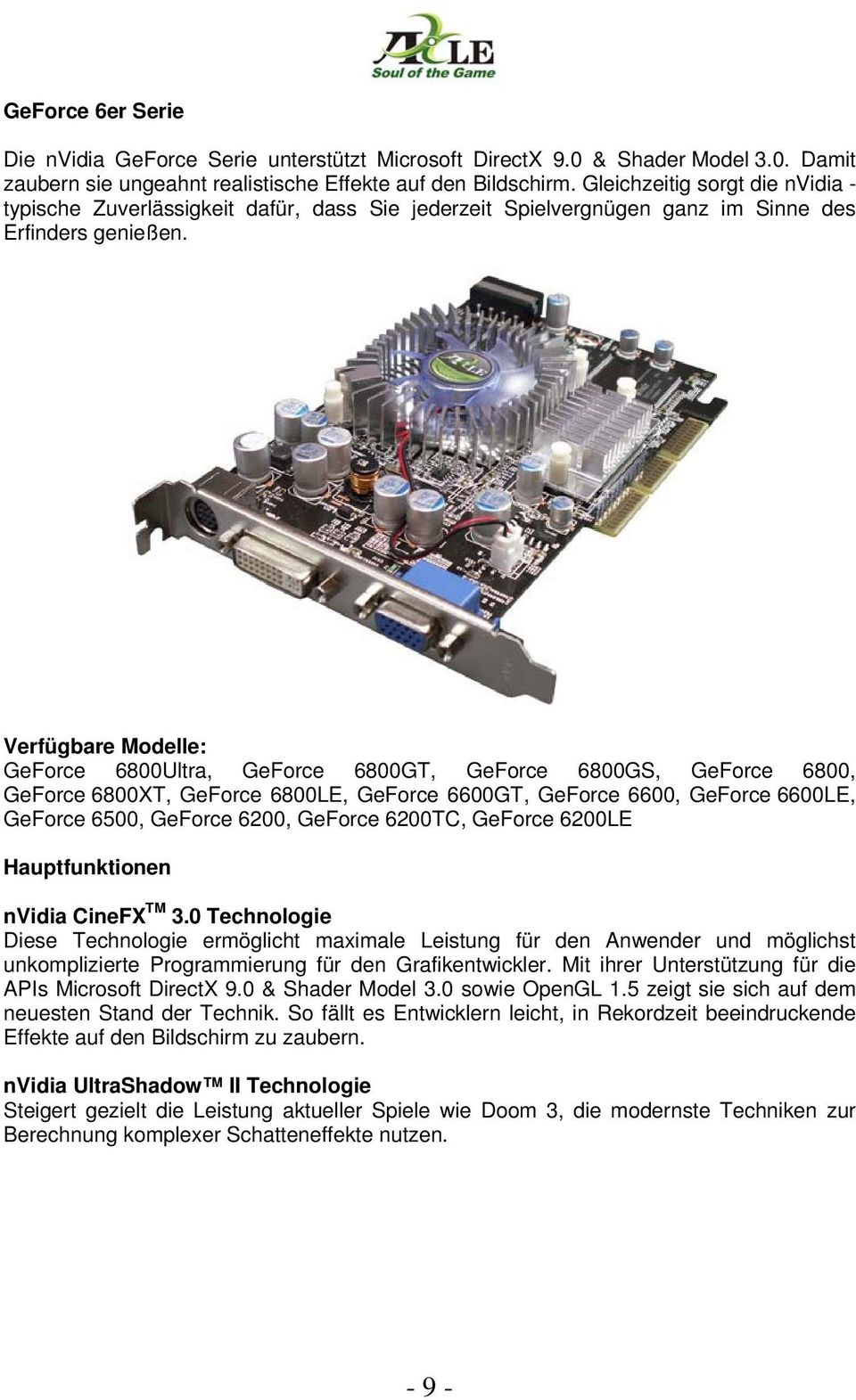 Verfügbare Modelle: GeForce 6800Ultra, GeForce 6800GT, GeForce 6800GS, GeForce 6800, GeForce 6800XT, GeForce 6800LE, GeForce 6600GT, GeForce 6600, GeForce 6600LE, GeForce 6500, GeForce 6200, GeForce