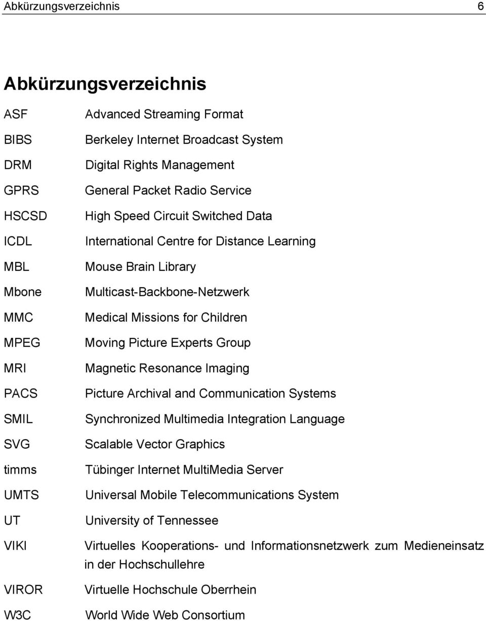 Missions for Children Moving Picture Experts Group Magnetic Resonance Imaging Picture Archival and Communication Systems Synchronized Multimedia Integration Language Scalable Vector Graphics Tübinger