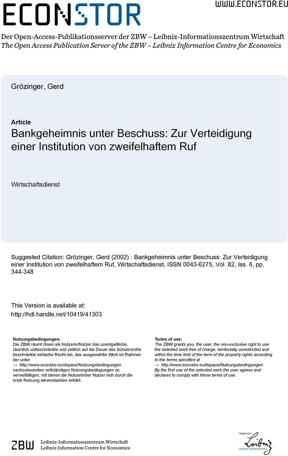 eu Der Open-Access-Publikationsserver der ZBW Leibniz-Informationszentrum Wirtschaft The Open Access Publication Server of the ZBW Leibniz Information Centre for Economics Grözinger, Gerd Article