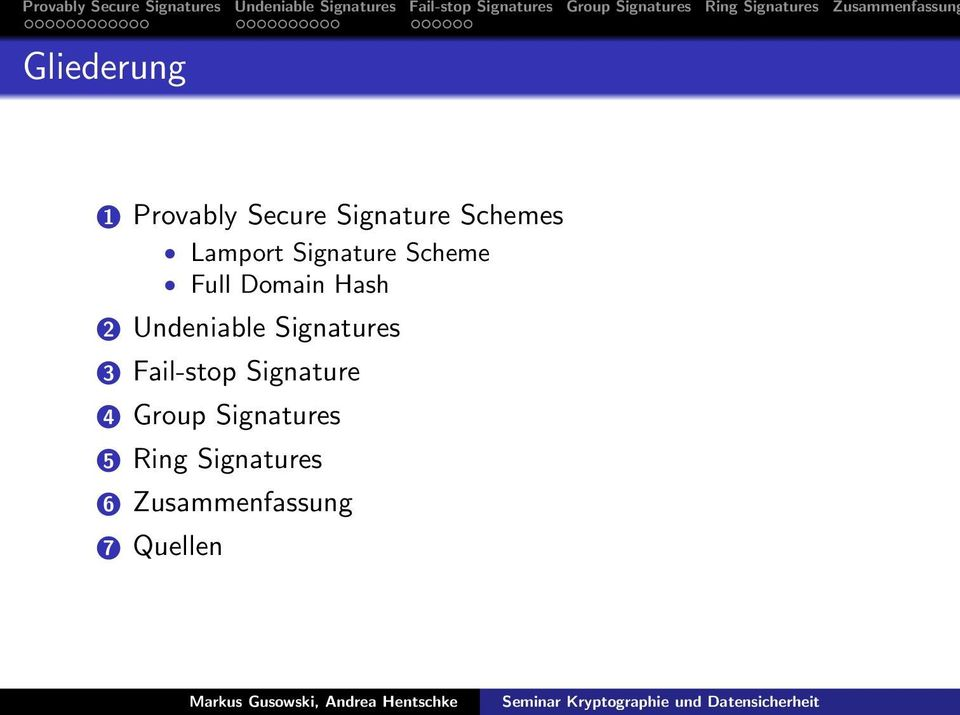 Undeniable Signatures 3 Fail-stop Signature 4