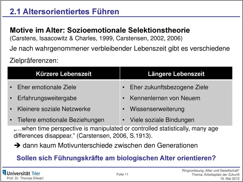 zukunftsbezogene Ziele Kennenlernen von Neuem Wissenserweiterung Tiefere emotionale Beziehungen Viele soziale Bindungen when time perspective is manipulated or controlled