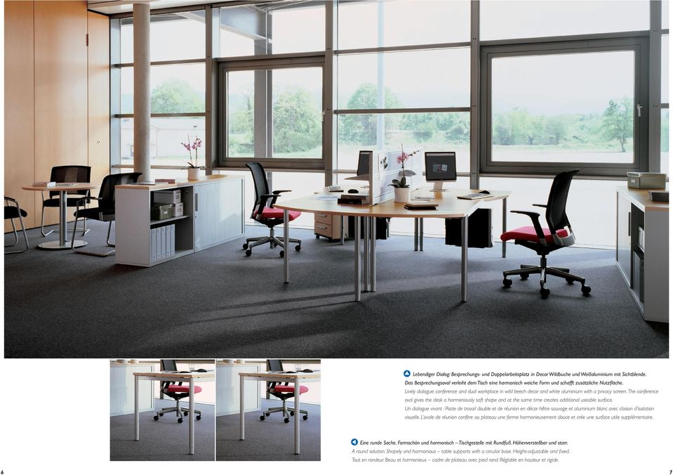 Lively dialogue: conference and dual workplace in wild beech decor and white aluminium with a privacy screen.