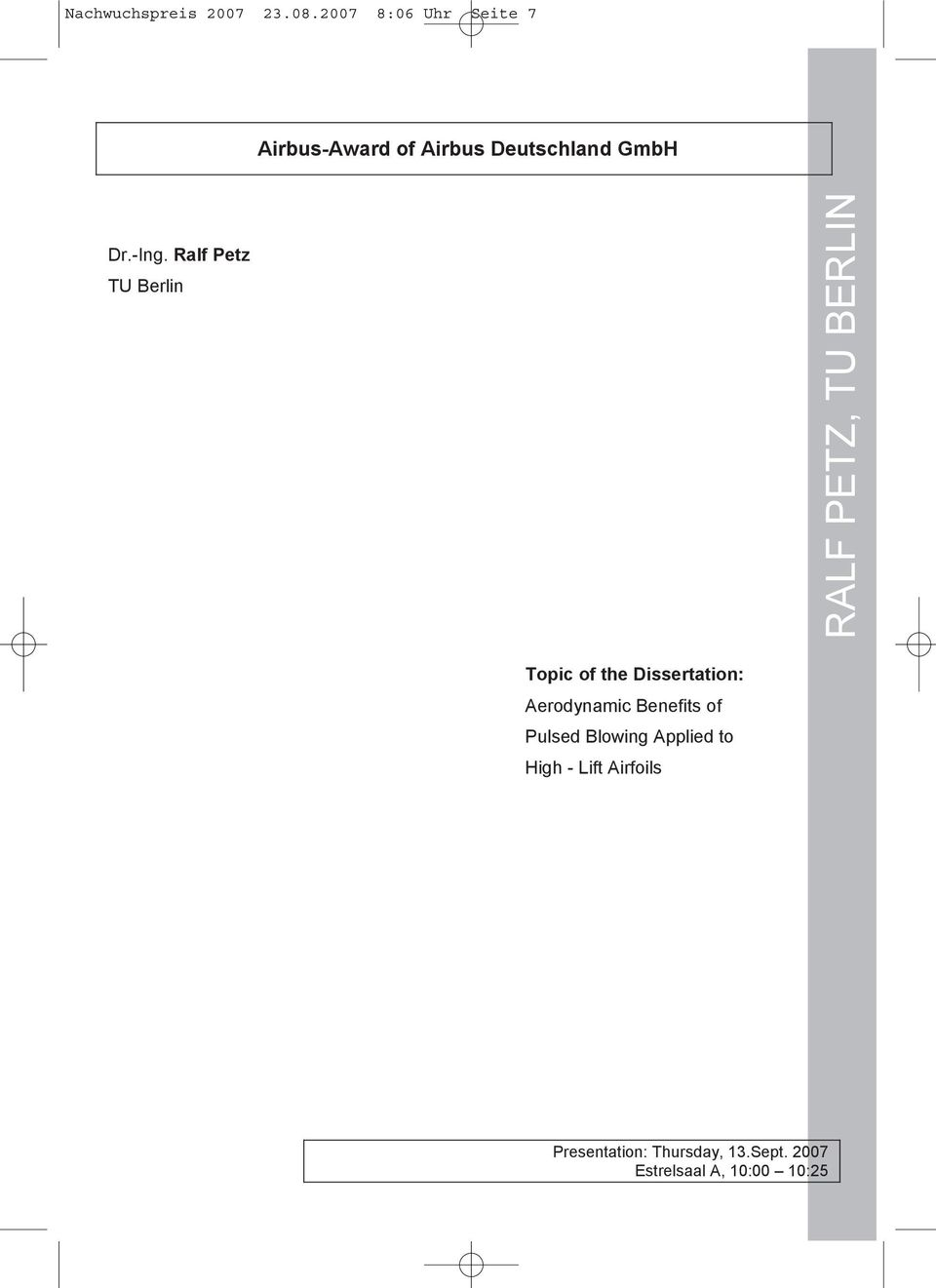 Ralf Petz TU Berlin RALF PETZ, TU BERLIN Topic of the Dissertation: