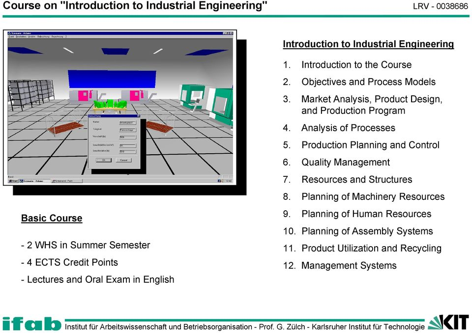 Market Analysis, Product Design, and Production Program 4. Analysis of Processes 5. Production Planning and Control 6. Quality Management 7.