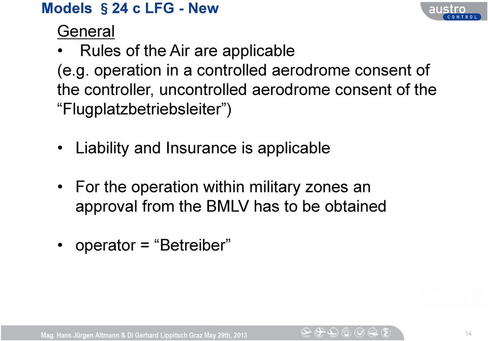 aerodrome consent of the Flugplatzbetriebsleiter ) Liability and Insurance is