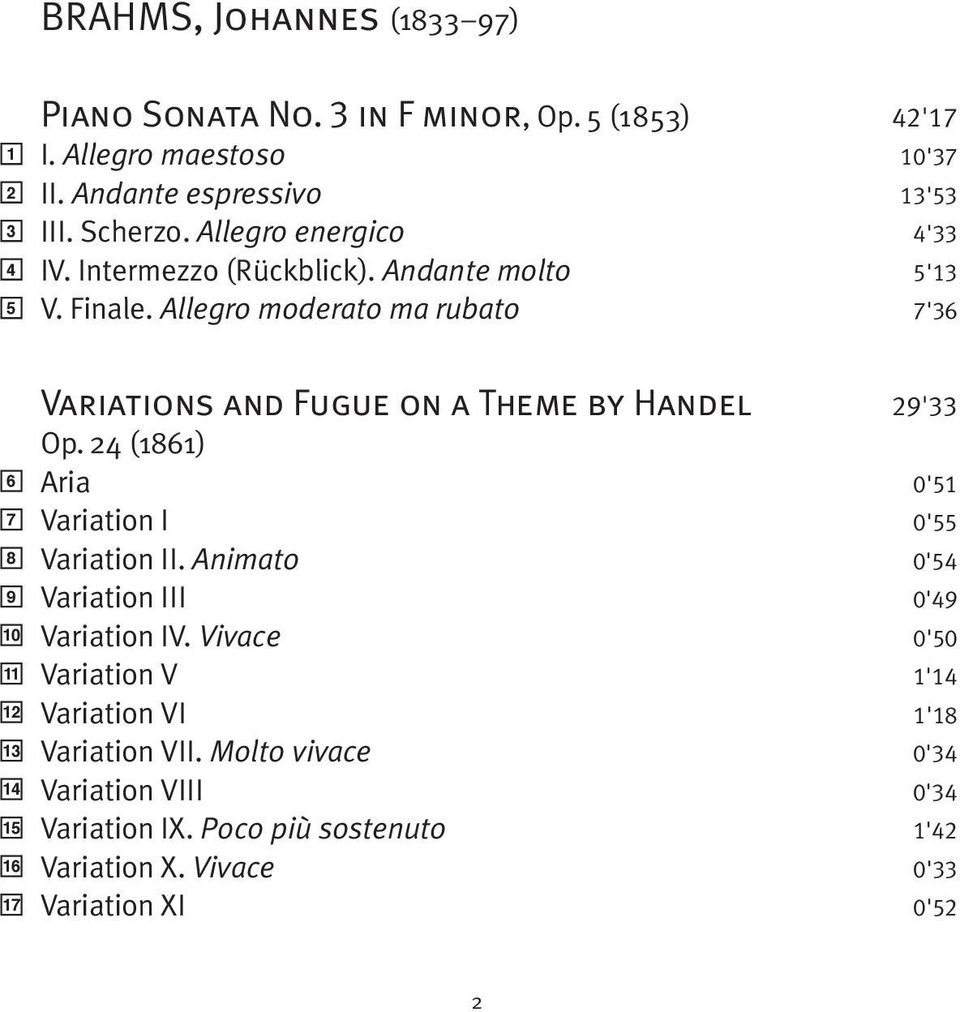 Allegro moderato ma rubato 7'36 6 7 8 9 10 11 12 13 14 15 16 17 Variations and Fugue on a Theme by Handel 29'33 Op.