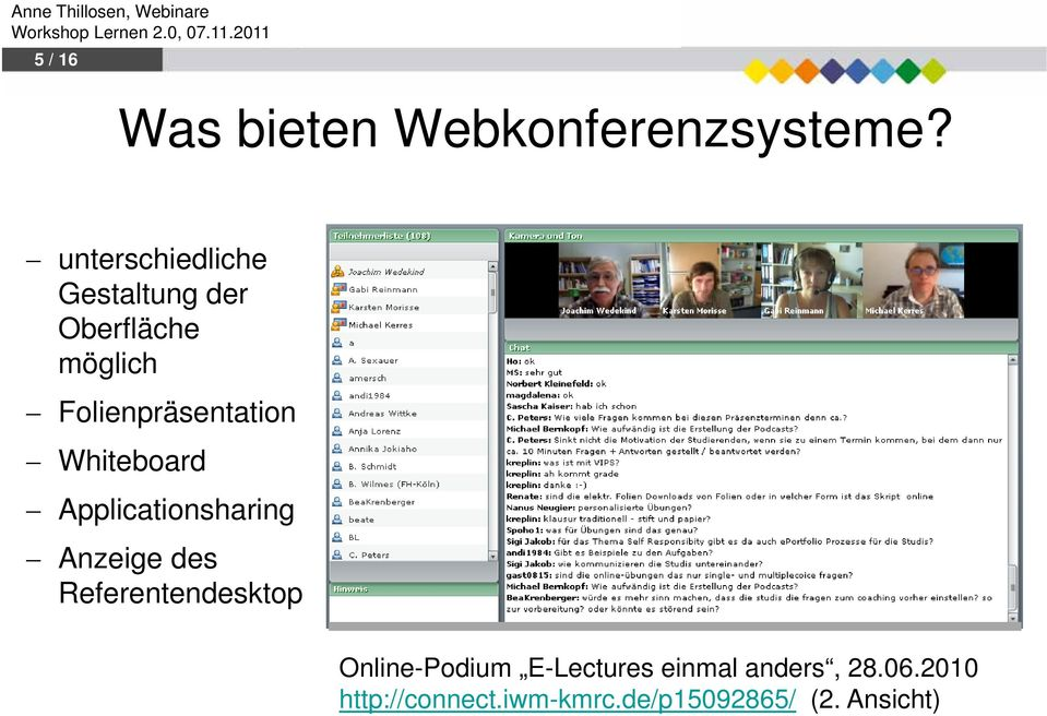 Whiteboard Applicationsharing Anzeige des Referentendesktop Im Zentrum: