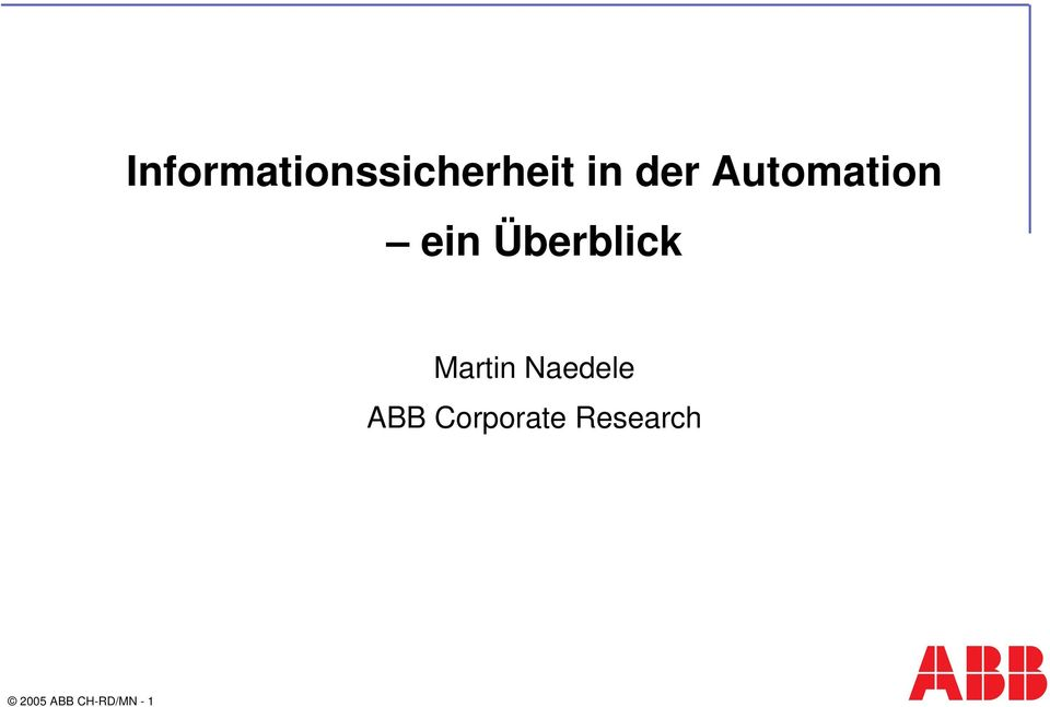 Martin Naedele ABB Corporate