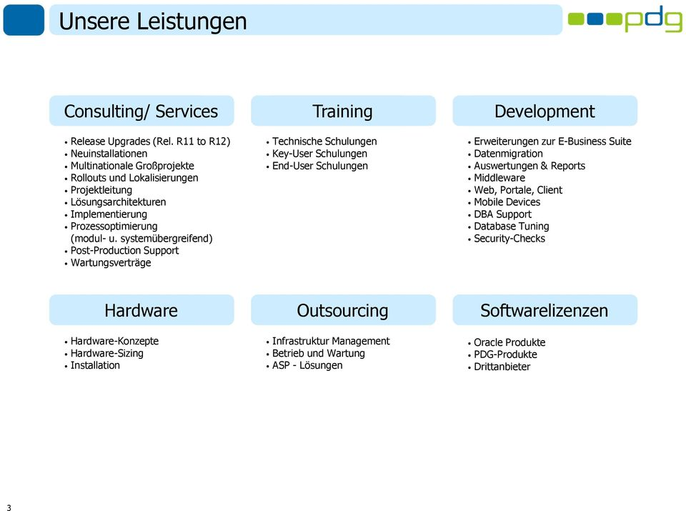 systemübergreifend) Post-Production Support Wartungsverträge Technische Schulungen Key-User Schulungen End-User Schulungen Erweiterungen zur E-Business Suite Datenmigration