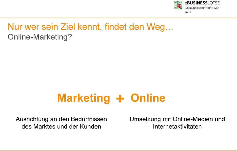 Marketing + Online Ausrichtung an den