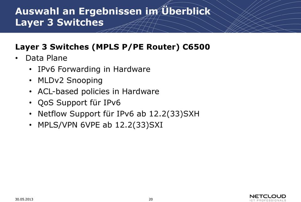 Snooping ACL-based policies in Hardware QoS Support für IPv6 Netflow