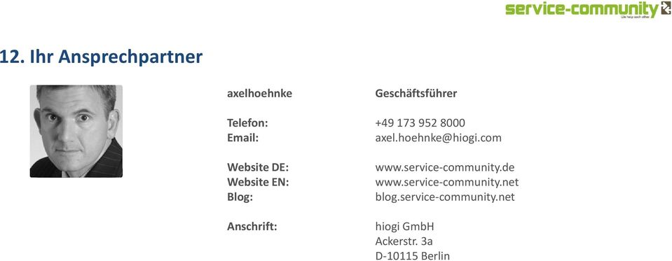 com Website DE: Website EN: Blog: Anschrift: www.service-community.