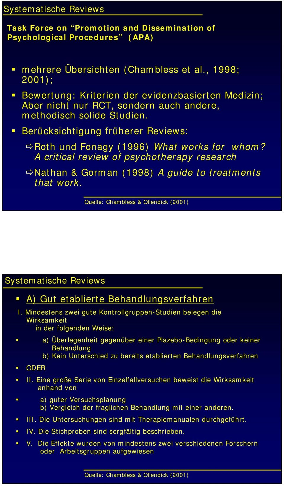 Berücksichtigung früherer Reviews: Roth und Fonagy (1996) What works for whom? A critical review of psychotherapy research Nathan & Gorman (1998) A guide to treatments that work.