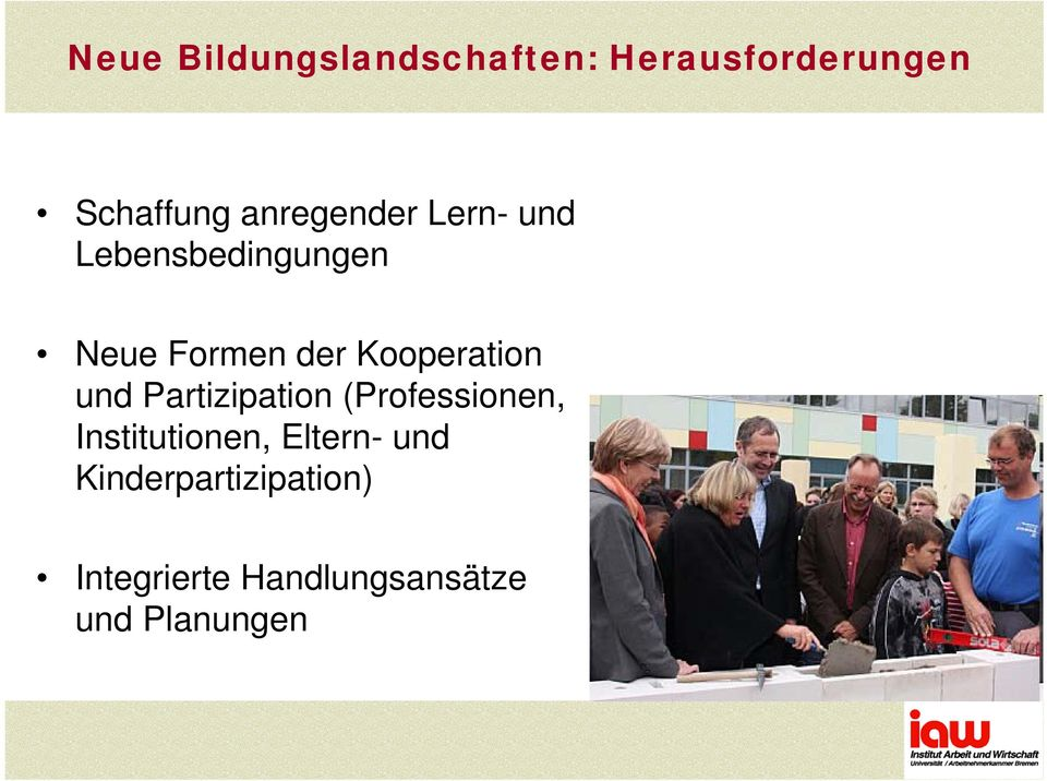 Kooperation und Partizipation (Professionen, Institutionen,