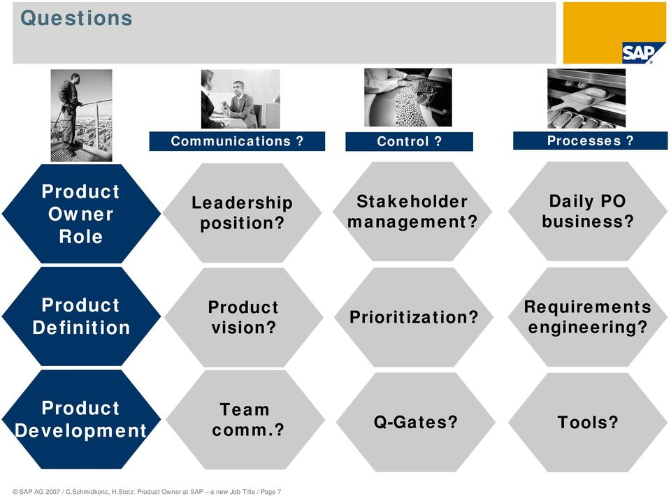 Product Definition Product vision? Prioritization? Requirements engineering?