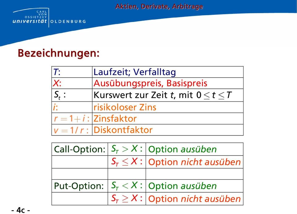 = 1/ r : Diskontfaktor Call-Option: > : Option ausüben : Option nicht