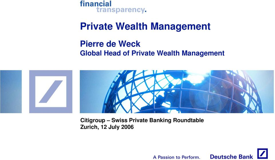 Management Citigroup Swiss Private