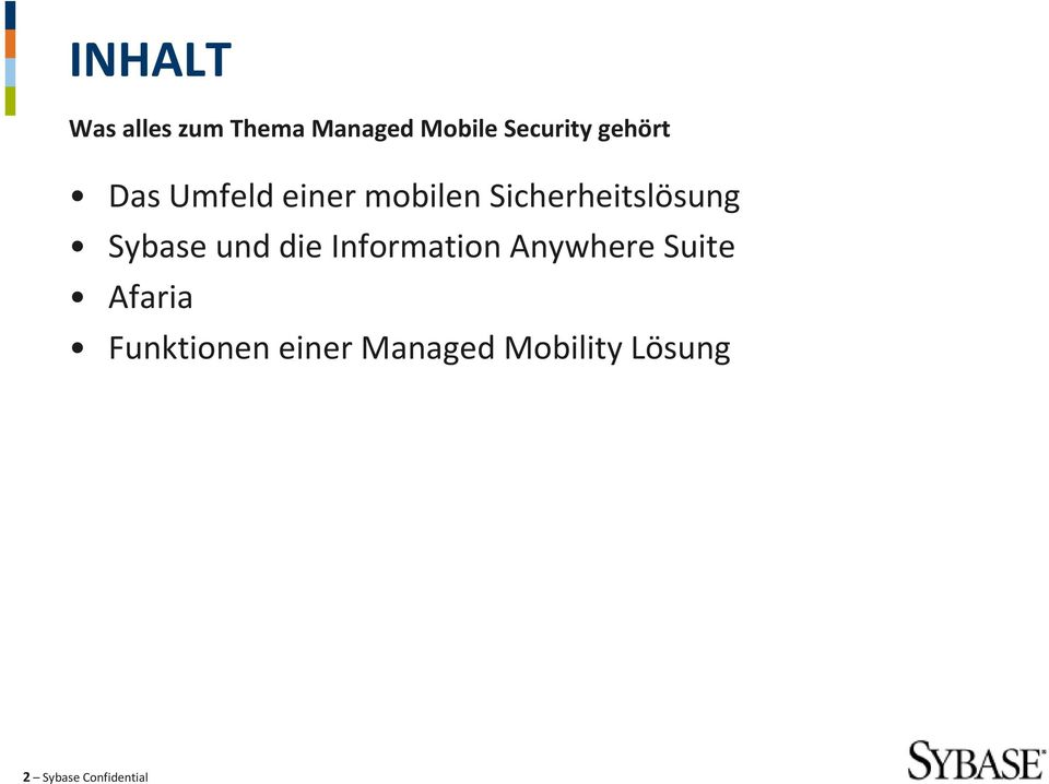 Sybase und die Information Anywhere Suite Afaria