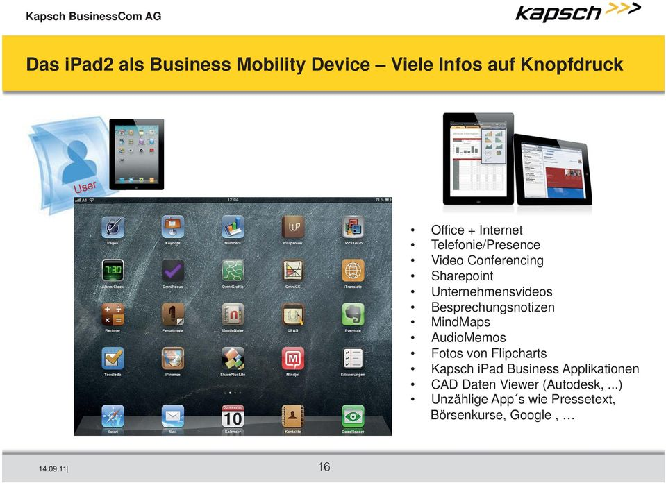 AudioMemos Fotos von Flipcharts Kapsch ipad Business Applikationen CAD Daten Viewer (Autodesk,.