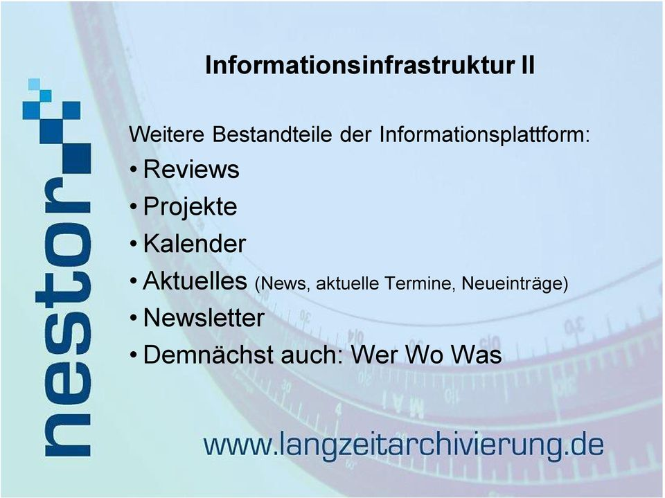 Reviews Projekte Kalender Aktuelles (News,