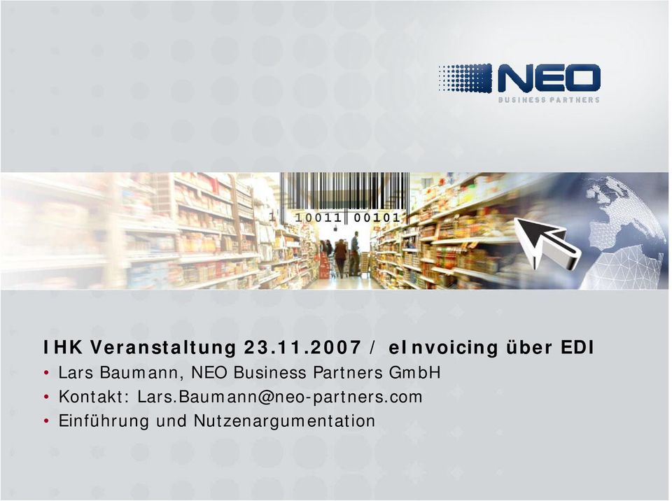 NEO Business Partners GmbH Kontakt: Lars.
