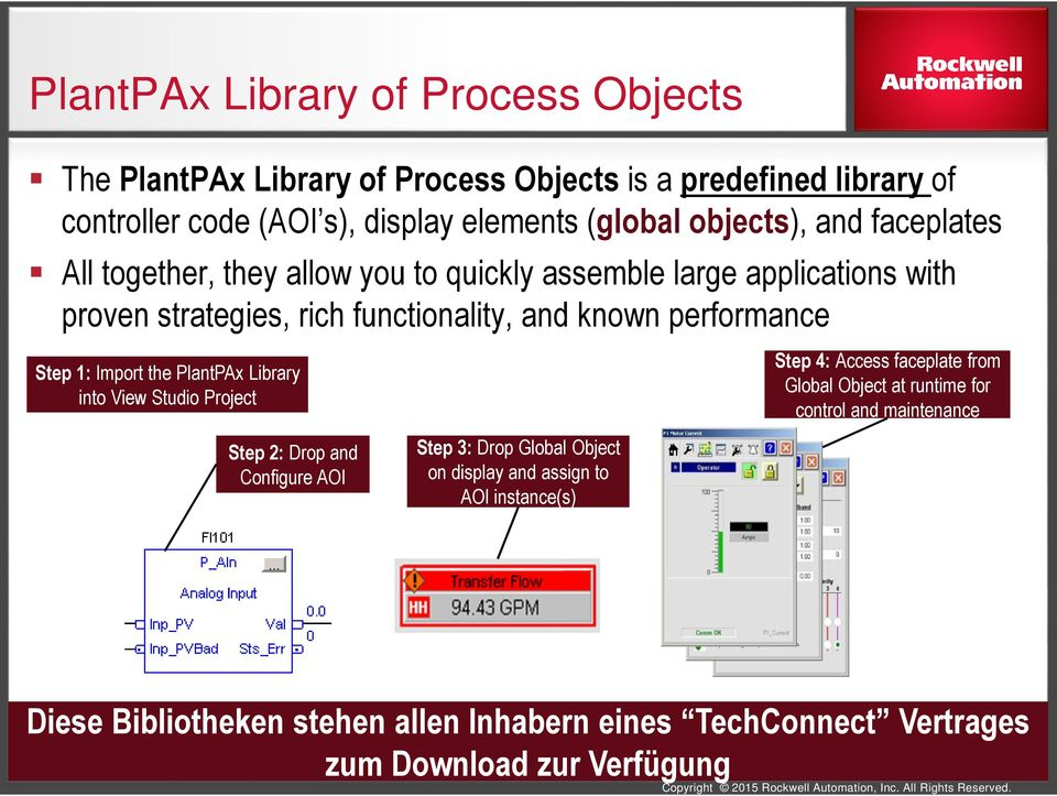 Import the PlantPAx Library into View Studio Project Step 2: Drop and Configure AOI Step 3: Drop Global Object on display and assign to AOI instance(s) Step 4: