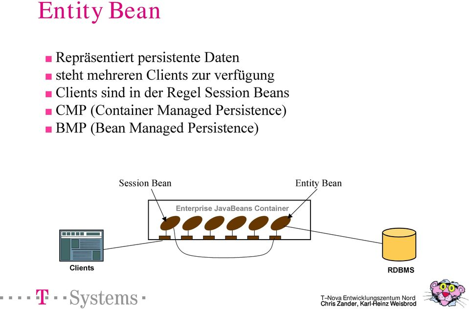 CMP (Container Managed Persistence) BMP (Bean Managed