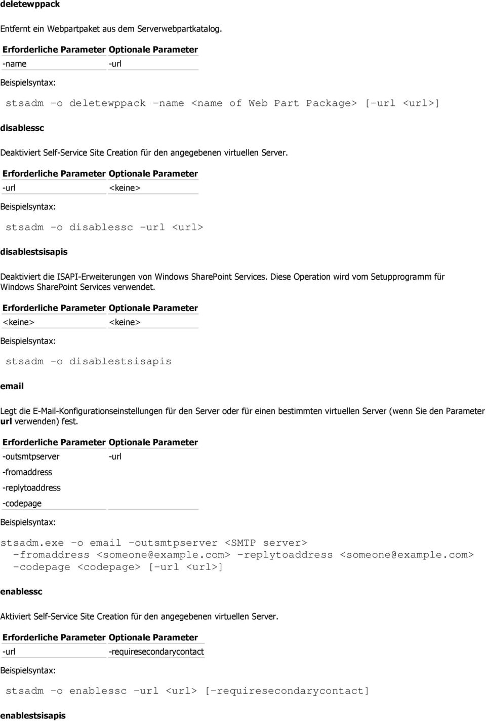 stsadm -o disablessc <url> disablestsisapis Deaktiviert die ISAPI-Erweiterungen von Windows SharePoint Services. Diese Operation wird vom Setupprogramm für Windows SharePoint Services verwendet.