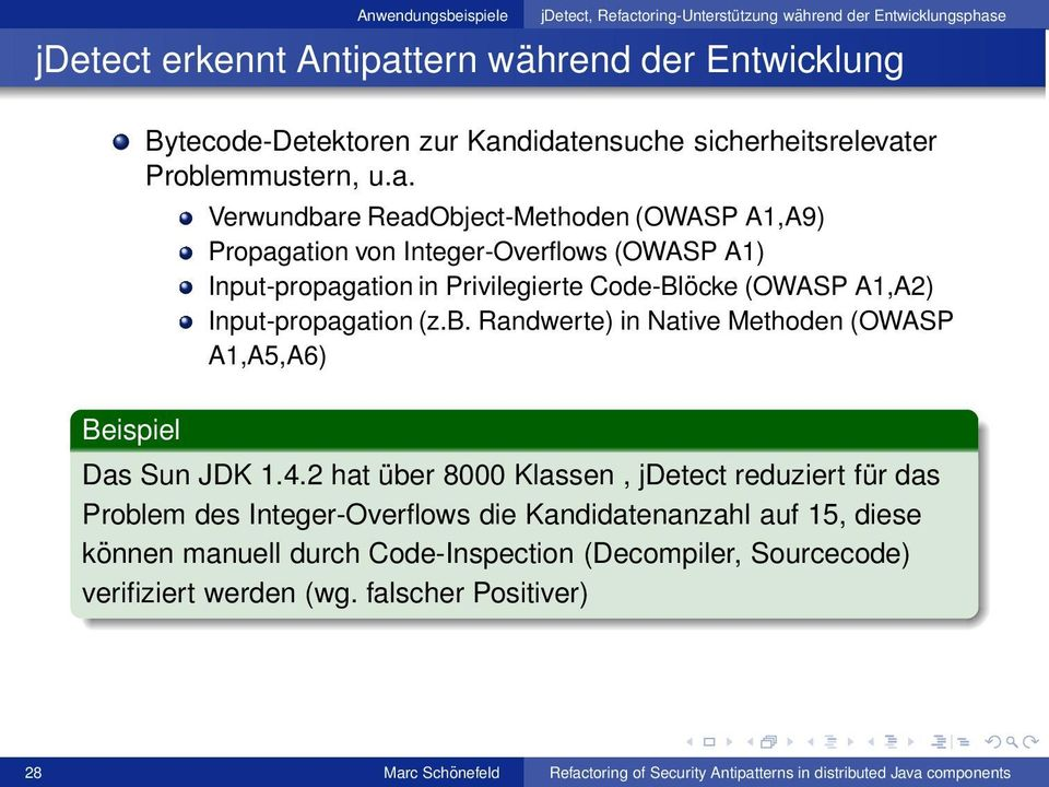 b. Randwerte) in Native Methoden (OWASP A1,A5,A6) Das Sun JDK 1.4.