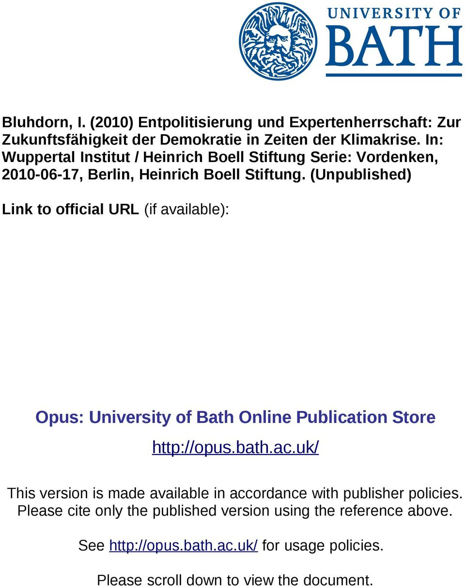(Unpublished) Link to official URL (if available): Opus: University of Bath Online Publication Store http://opus.bath.ac.