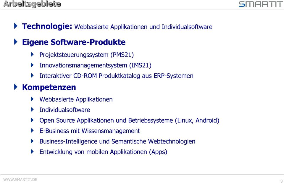 ERP-Systemen Kompetenzen Webbasierte Applikationen Individualsoftware Open Source Applikationen und Betriebssysteme