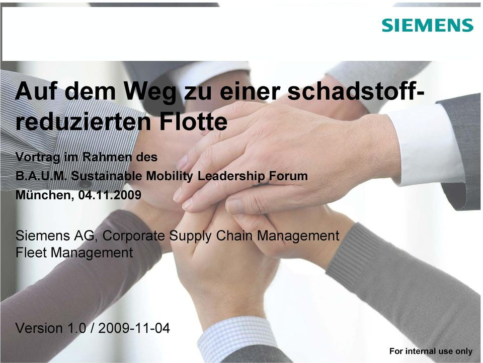 Sustainable Mobility Leadership Forum München, 04.11.