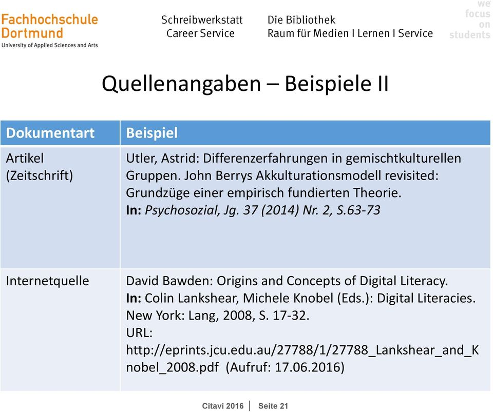 63 73 Internetquelle David Bawden: Origins and Concepts of Digital Literacy. In: Colin Lankshear, Michele Knobel (Eds.): Digital Literacies.