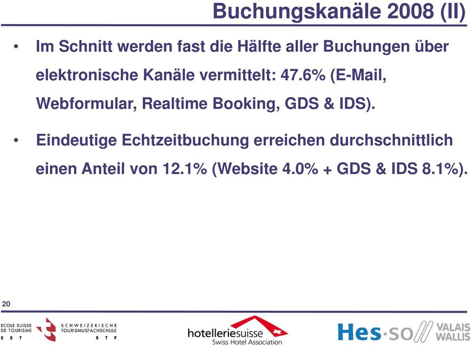 6% (E-Mail Mail, Webformular, Realtime Booking, GDS & IDS).