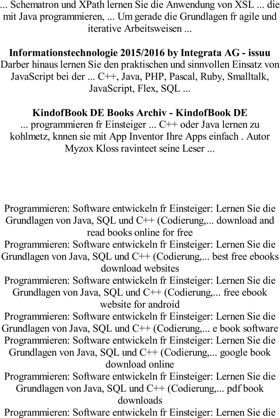 .. C++, Java, PHP, Pascal, Ruby, Smalltalk, JavaScript, Flex, SQL... KindofBook DE Books Archiv - KindofBook DE... programmieren fr Einsteiger.