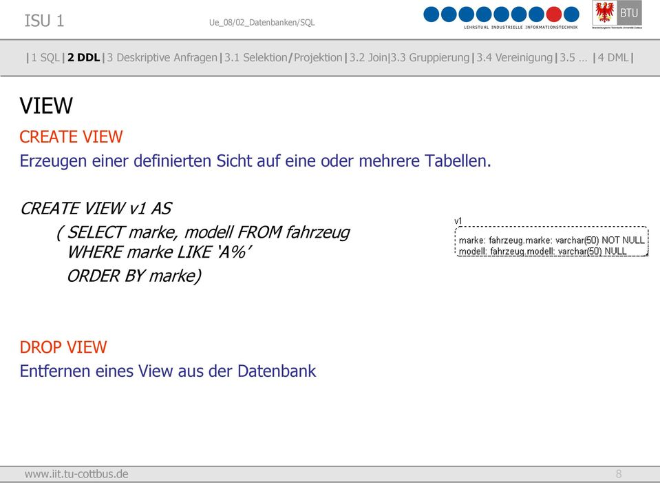CREATE VIEW v1 AS ( SELECT marke, modell FROM fahrzeug WHERE
