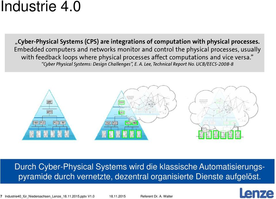 computations and vice versa. Cyber Physical Systems: Design Challenges, E. A. Lee, Technical Report No.