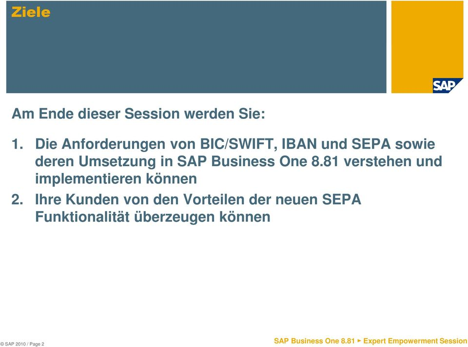 Umsetzung in SAP Business One 8.