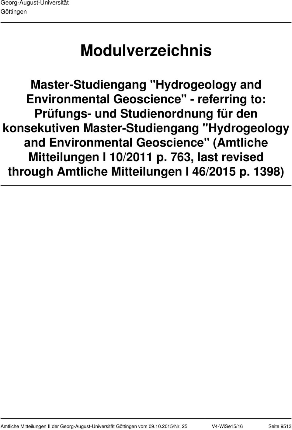 """Hydrogeology and Environmental Geoscience"" (Amtliche Mitteilungen I 10/2011 p."