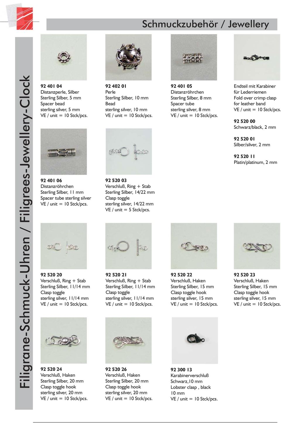 toggle sterling silver, 14/22 mm VE / unit = 5 Stck/pcs.