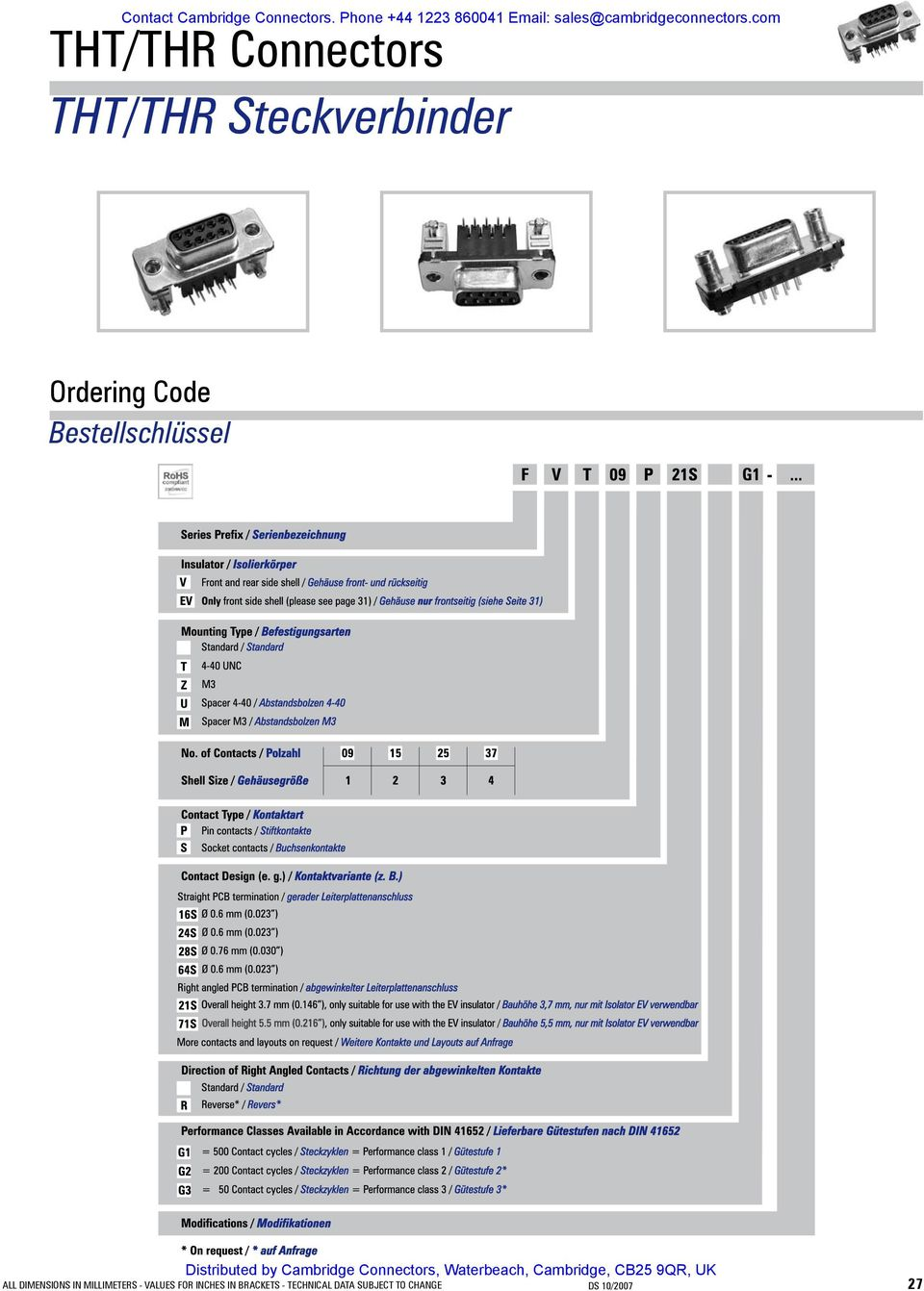 com THT/THR Connectors THT/THR Steckverbinder Ordering Code