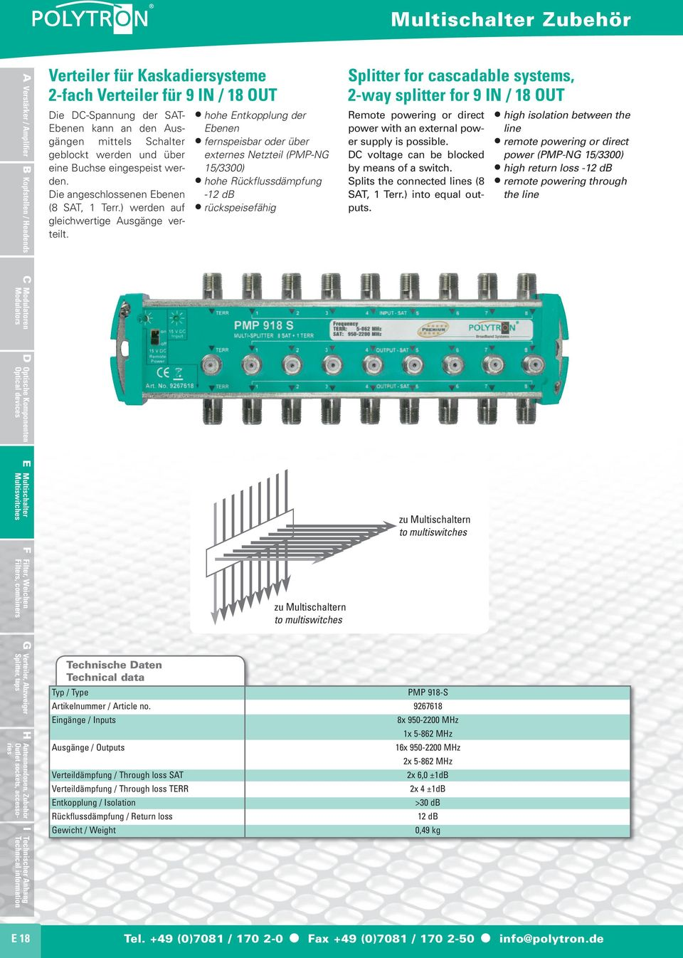 hohe Entkopplung der Ebenen fernspeisbar oder über externes Netzteil (PMP-NG 15/3300) - rückspeisefähig Splitter for cascadable systems, 2-way splitter for 9 IN / 18 OUT Remote powering or direct