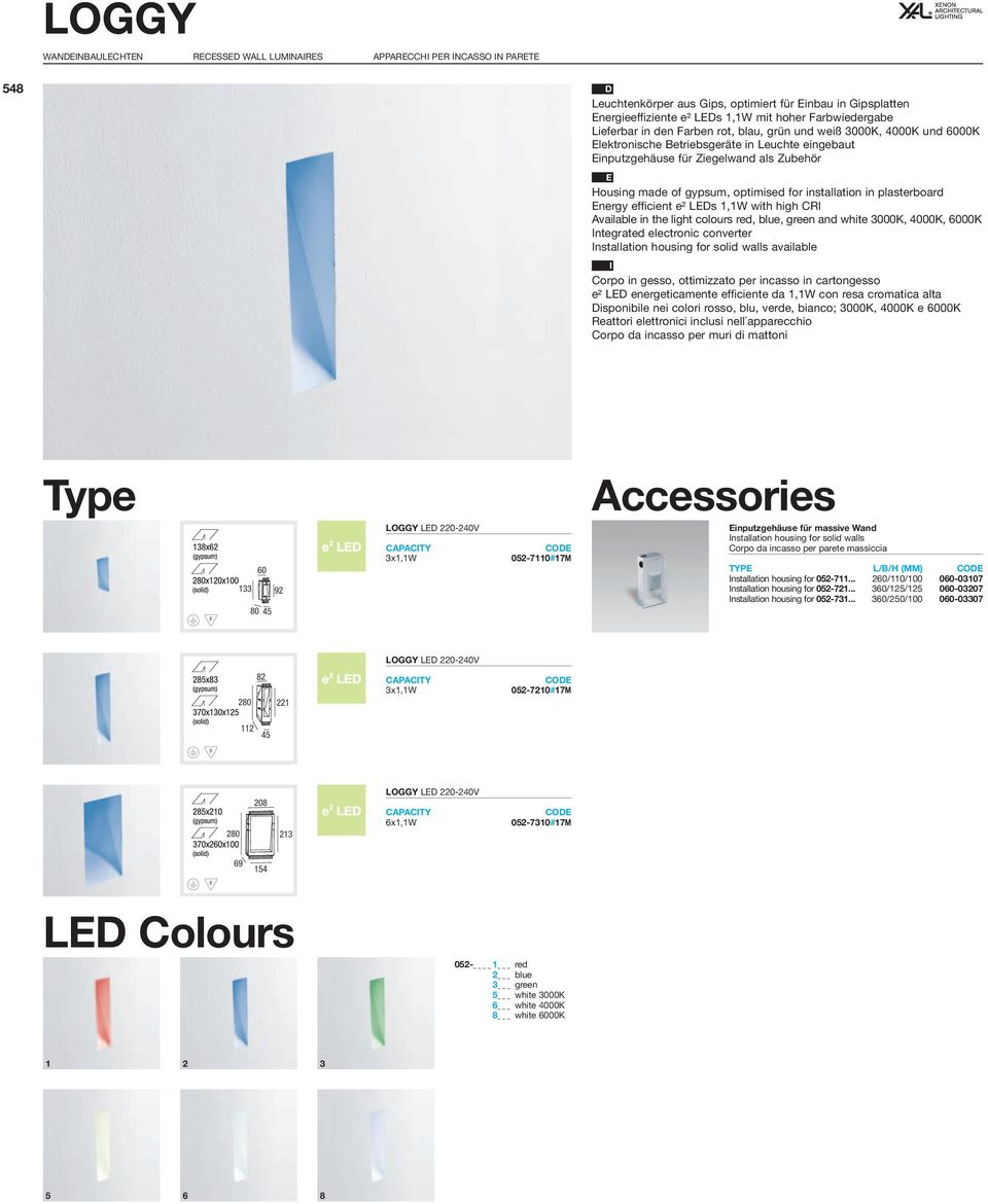 gypsum, optimised for installation in plasterboard Energy efficient e² LEDs 1,1W with high CRI Available in the light colours red, blue, green and white 3000K, 4000K, 6000K Integrated electronic