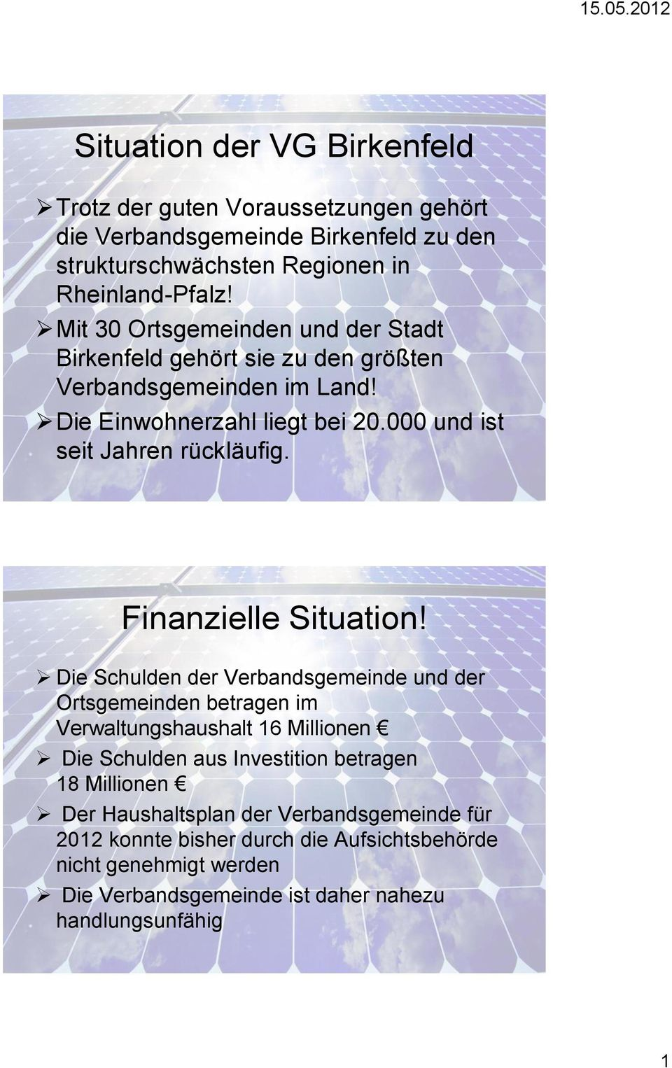 Finanzielle Situation!