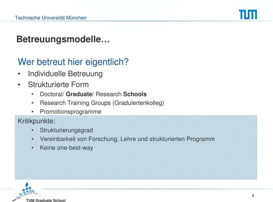Schools Research Training Groups (Graduiertenkolleg) Promotionsprogramme