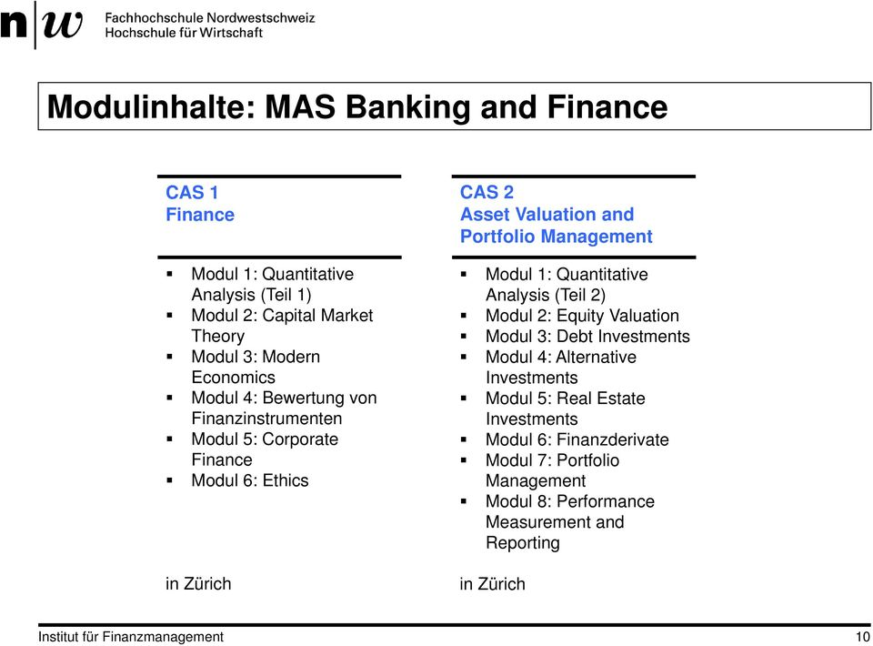 Management Modul 1: Quantitative Analysis (Teil 2) Modul 2: Equity Valuation Modul 3: Debt Investments Modul 4: Alternative Investments Modul 5: